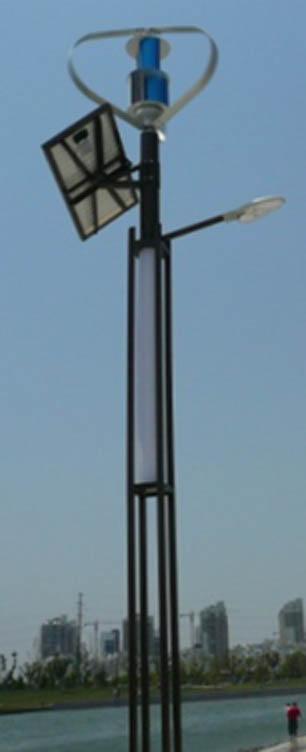 Hybridní veřejné osvětlení 300 W, panel 100W,24W led lampa, 6m sloup