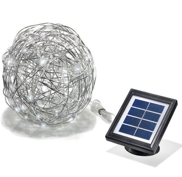 Solární dekorační koule z hliníkového drátu