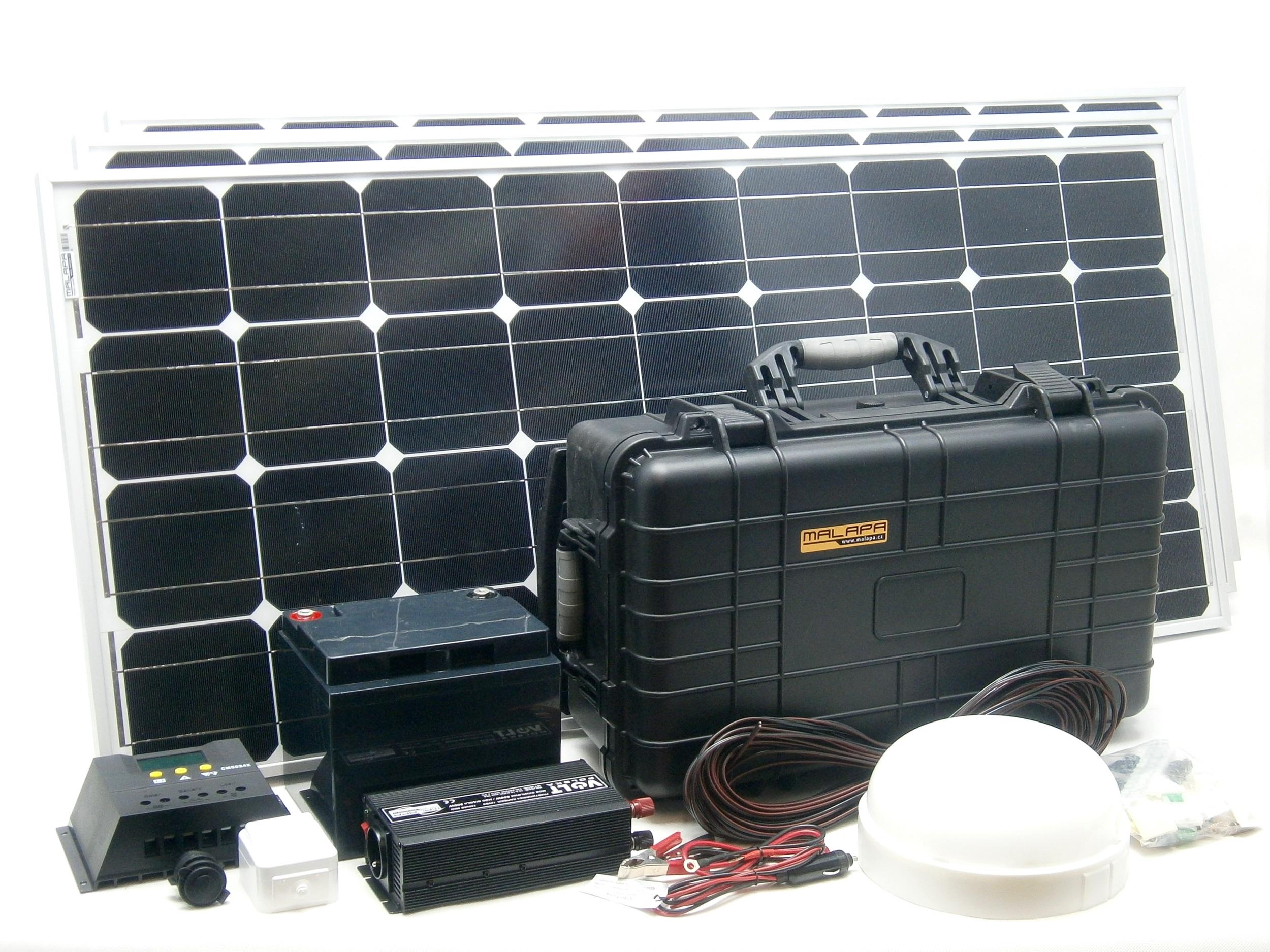300W solární systém monokrystalický s akumulátorem, 12V + 5V USB + 230V + LED os
