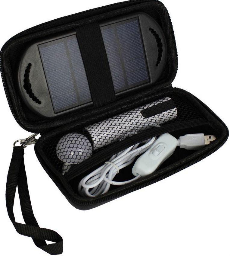 Mini solární LED systém s 2600 mAh power bank a ochranným pouzdrem