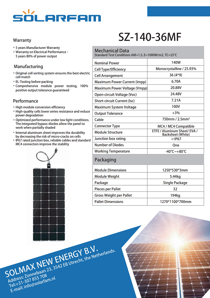 140W SUNPOWER ETFE Semi-Flexible Solar panel